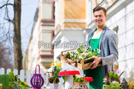 florist with plants delivery