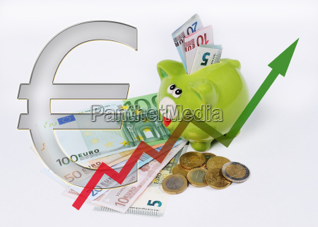 piggy bank with graph and euro