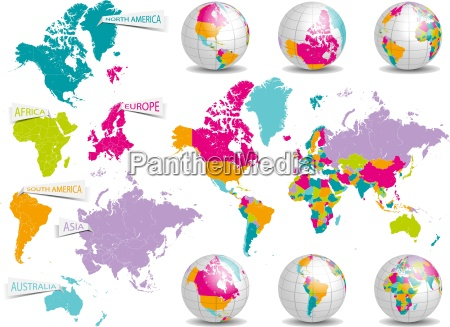 world map with continents and globes