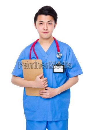 mandlige, læge, holder, med, udklipsholder - 15780550