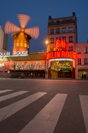 moulin rouge at dusk paris france