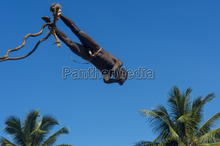man jumping from a bamboo tower