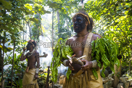 traditional dressed man in the jungle
