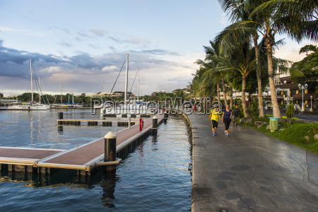 waterfront of papeete at sunset tahiti