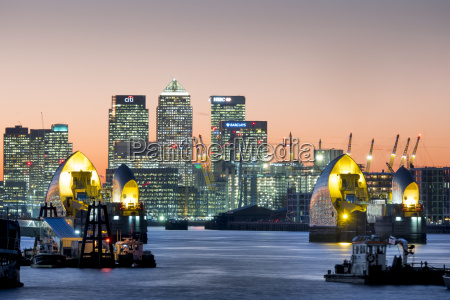 canary wharf with thames barrier london