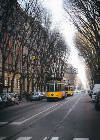 a traditional tram in winter milan