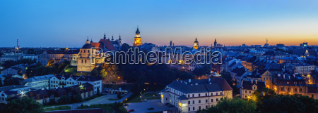 old town skyline at twilight city