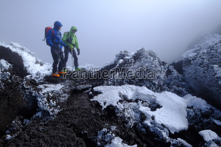 reaching the crater rim of mount