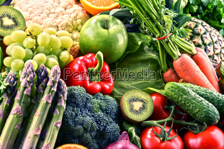 assorted raw organic vegetables and fruits