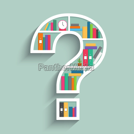 bookshelf in form of question mark